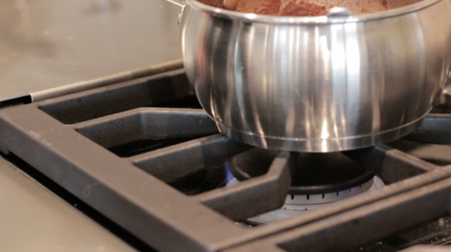 """Super low heat from the Wolf 48"""" Dual Stack Gas Burner."""