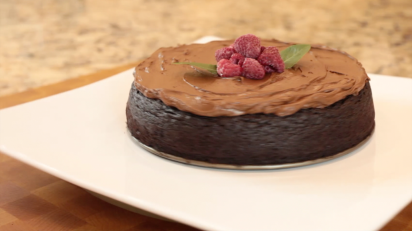 This delicious Quinoa Chocolate Cake is on display!