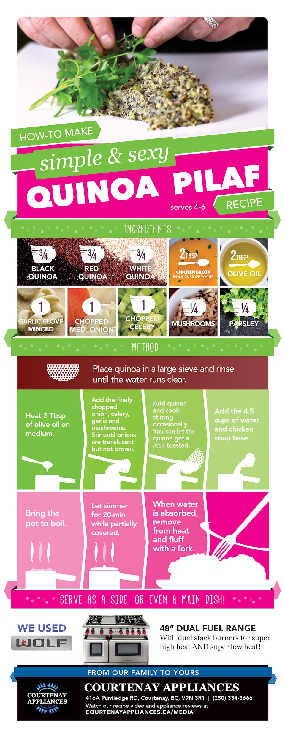 3 Quinoa Pilaf Recipe Infograph Courtenay Appliances